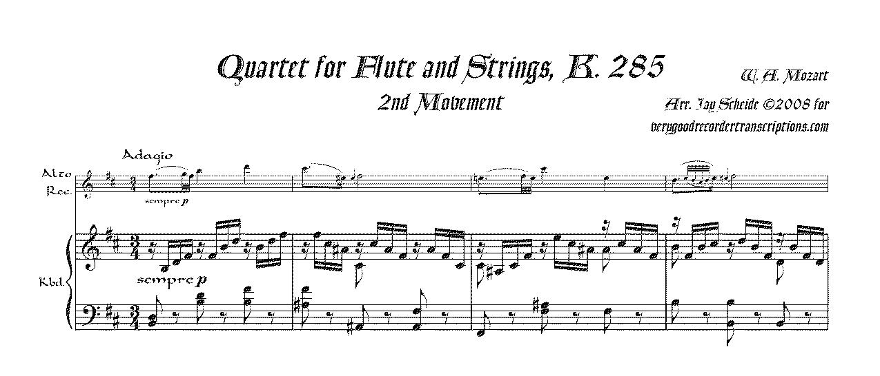 Quartet, K. 285, 2nd Mvmt., for stand-alone performance