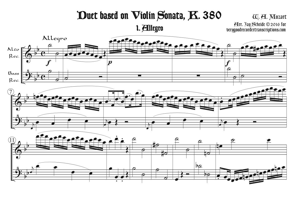 Duet based on Sonata for Piano with Violin, K. 380