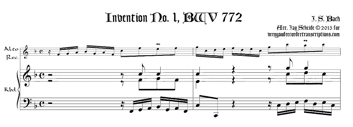 2-part Invention No. 1 and 1A, BWV 772 & 772A