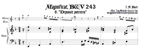 "Aria, ""Deposuit potentes\"" from *Magnificat*, BWV 243, transposed to d"