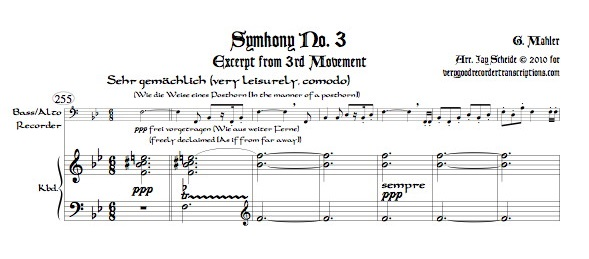 Excerpt from Symphony No. 3, 3rd Mvmt., arr. for bass recorder and keyboard