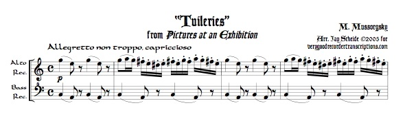 """Tuileries"" from *Pictures at an Exhibition*, duet for alto & bass recorders, or soprano & tenor"
