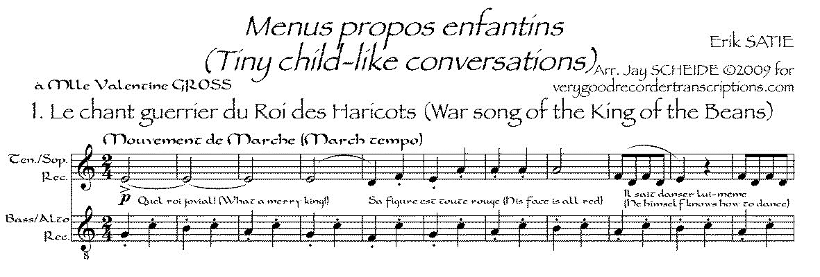 *Menus propos enfantins*, arr. for recorder duet (various recorders possible)