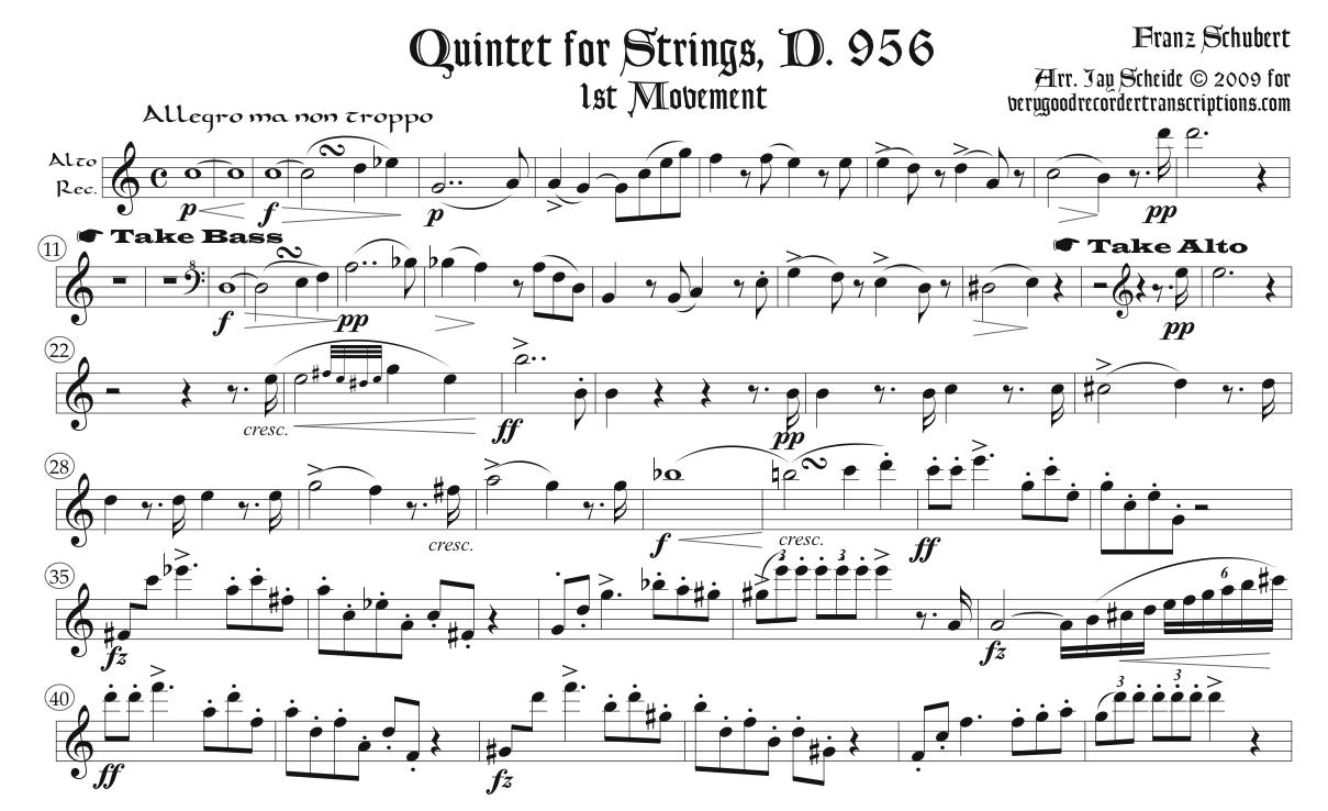 1st Movement from String Quintet, D. 956, for alto recorder with optional passages for bass