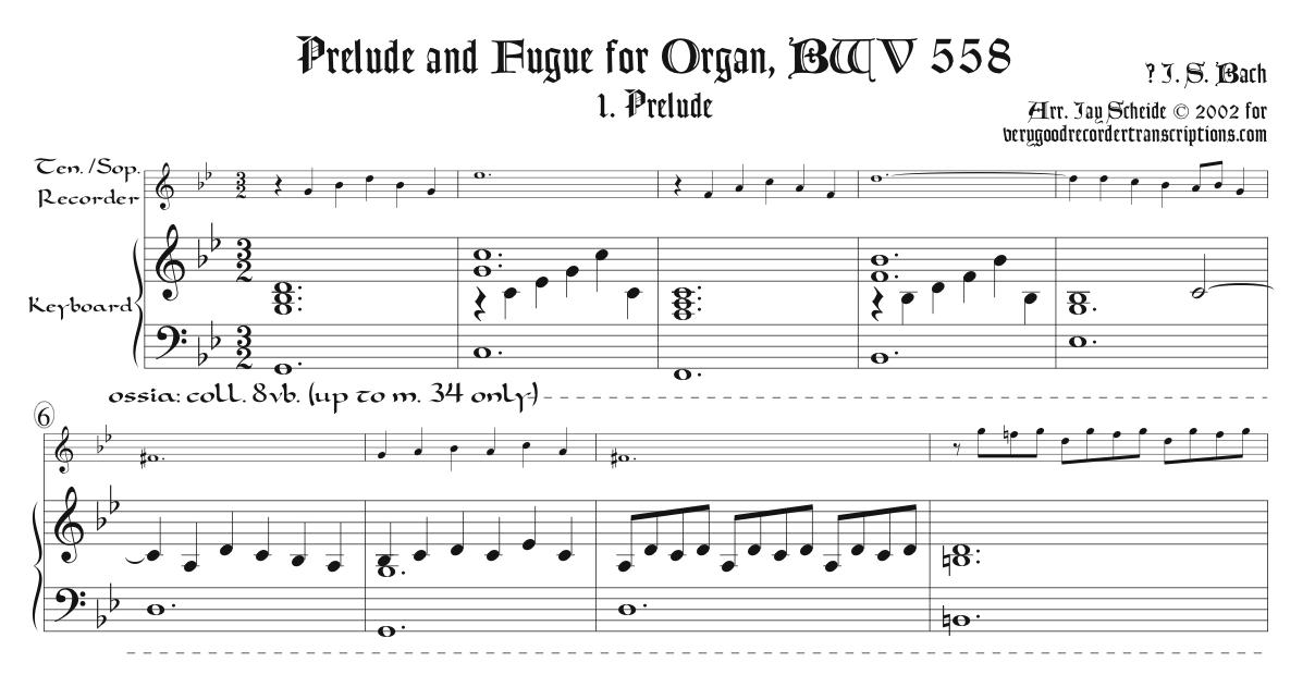 Prélude and Fugue, BWV 558, arr. for tenor or soprano recorder & keyboard
