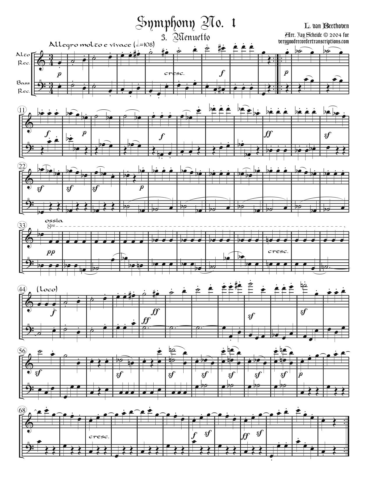 Menuetto from Symphony No. 1, arr. for alto & bass recorders