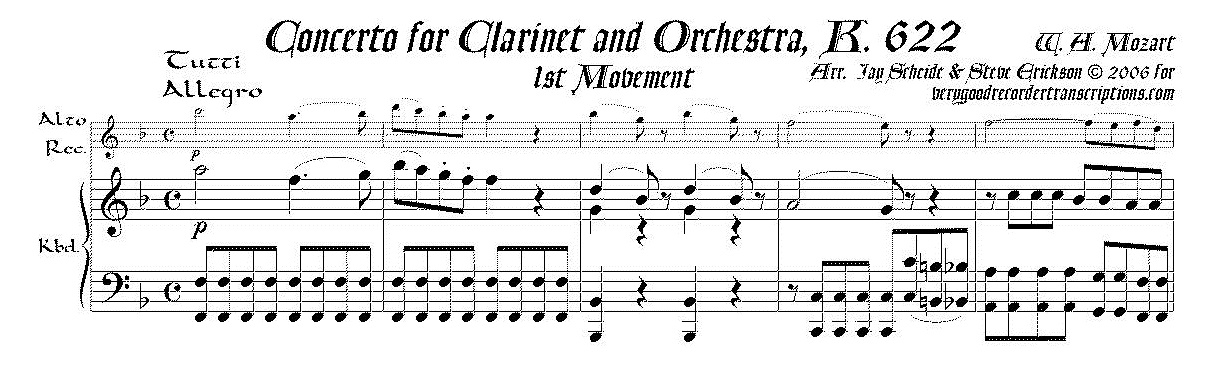Concerto for Clarinet & Orchestra, K. 622