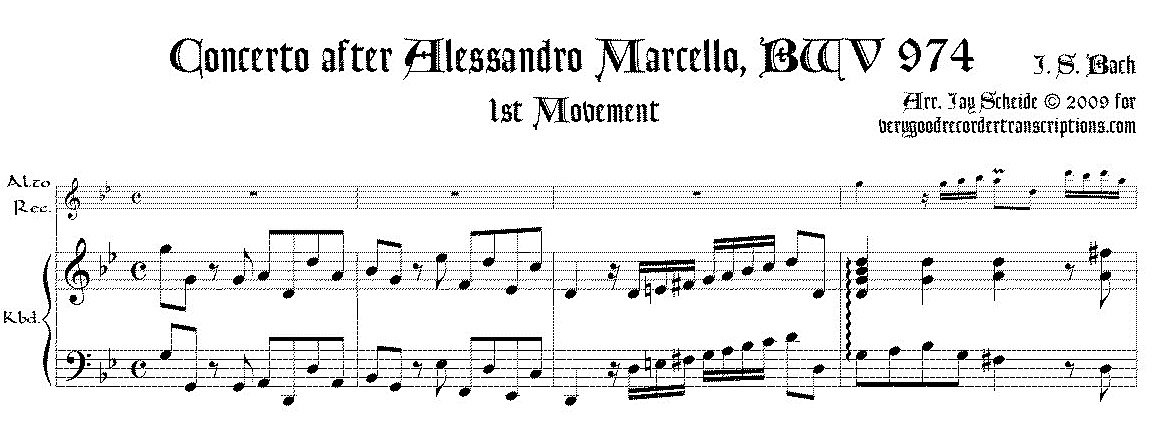 Concerto after Alessandro Marcello, BWV 974