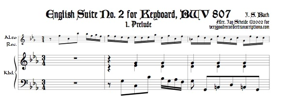 Four Mvmts. from English Suite No. 2, BWV 807, transposed to c