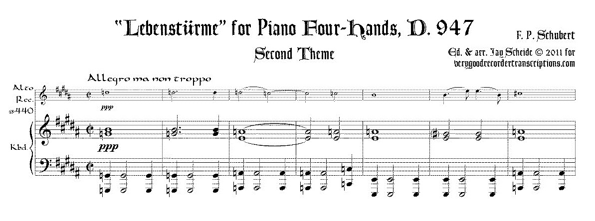 """Excerpt from """"Lebenstürme"""", D. 947 for pf. 4-hands (With switch to alto recorder @415)"""