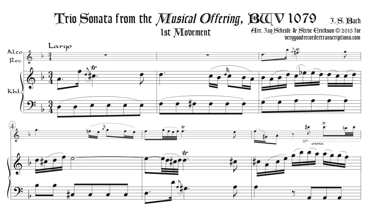 Trio Sonata from *Musical Offering*, BWV 1079, Complete