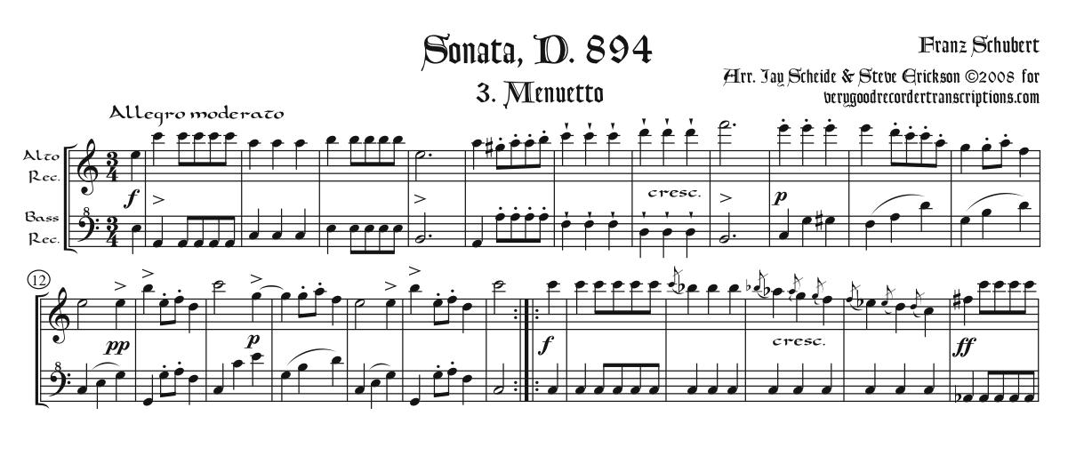 Menuetto from Sonata, D. 894, arr. for alto & bass recorders, two versions