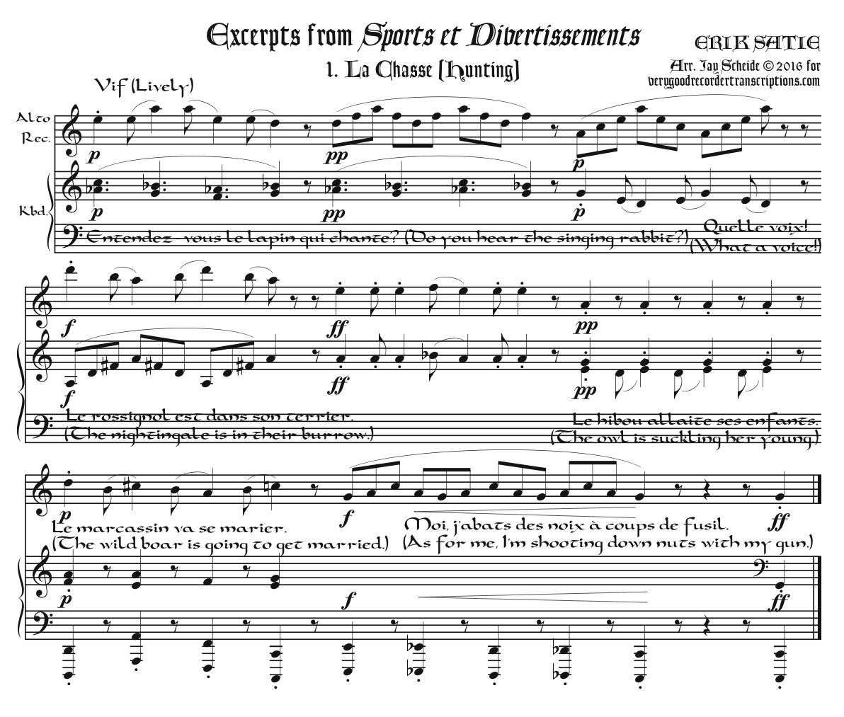 Excerpts from *Sports et Divertissements* arr. for alto recorder—doubling C instrument—& keyboard