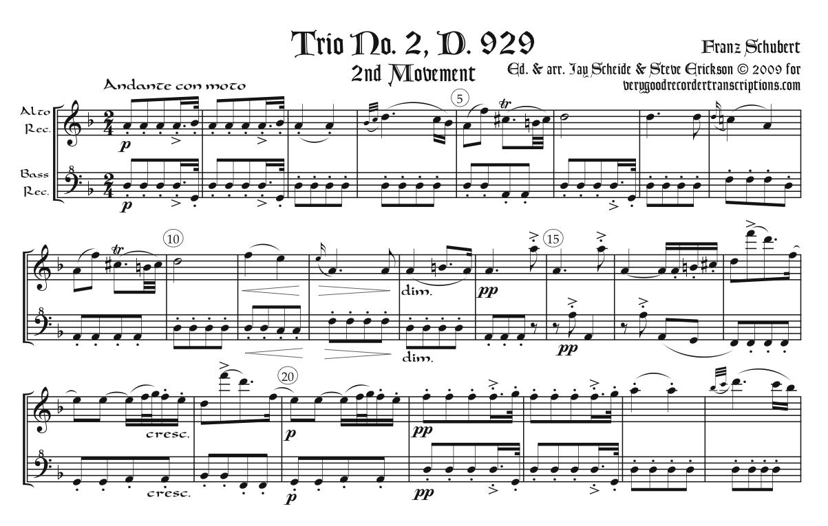 2nd Mvmt. of Trio No. 2, D. 929, arr. for alto & bass recorders