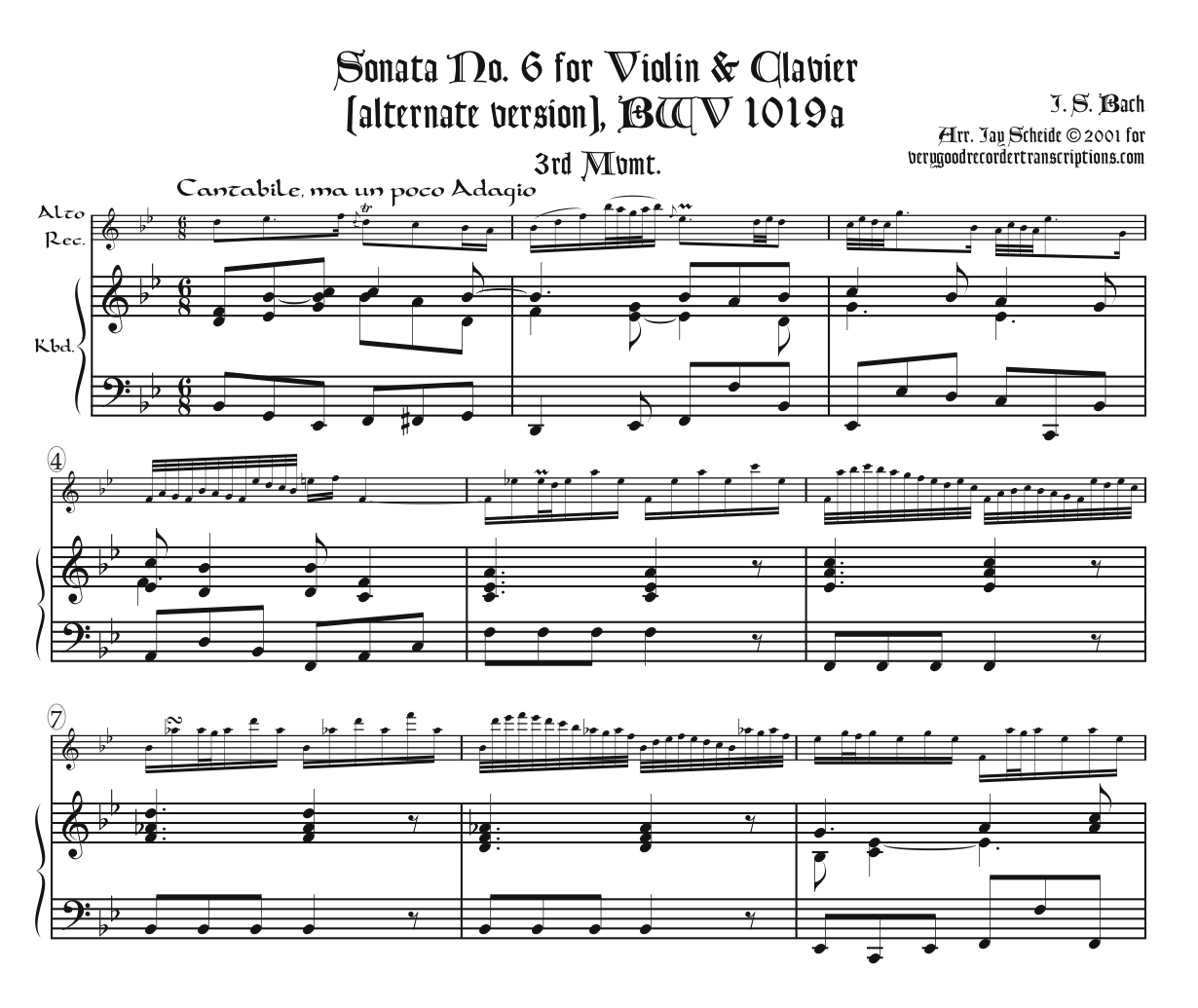 """Aria, """"Heil und Segen,"""" from Cantata 120 (See BWV 1019a in the """"Miscellaneous Chamber Music"""" section)"""