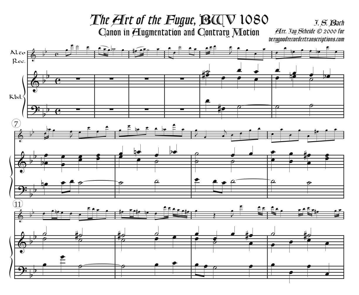 All Four Canons from the Art of the Fugue