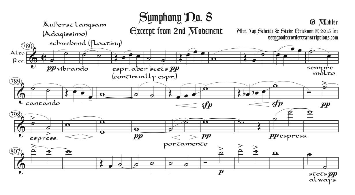 Symphony No. 8, excerpt from the 2nd Mvmt., two different transpositions