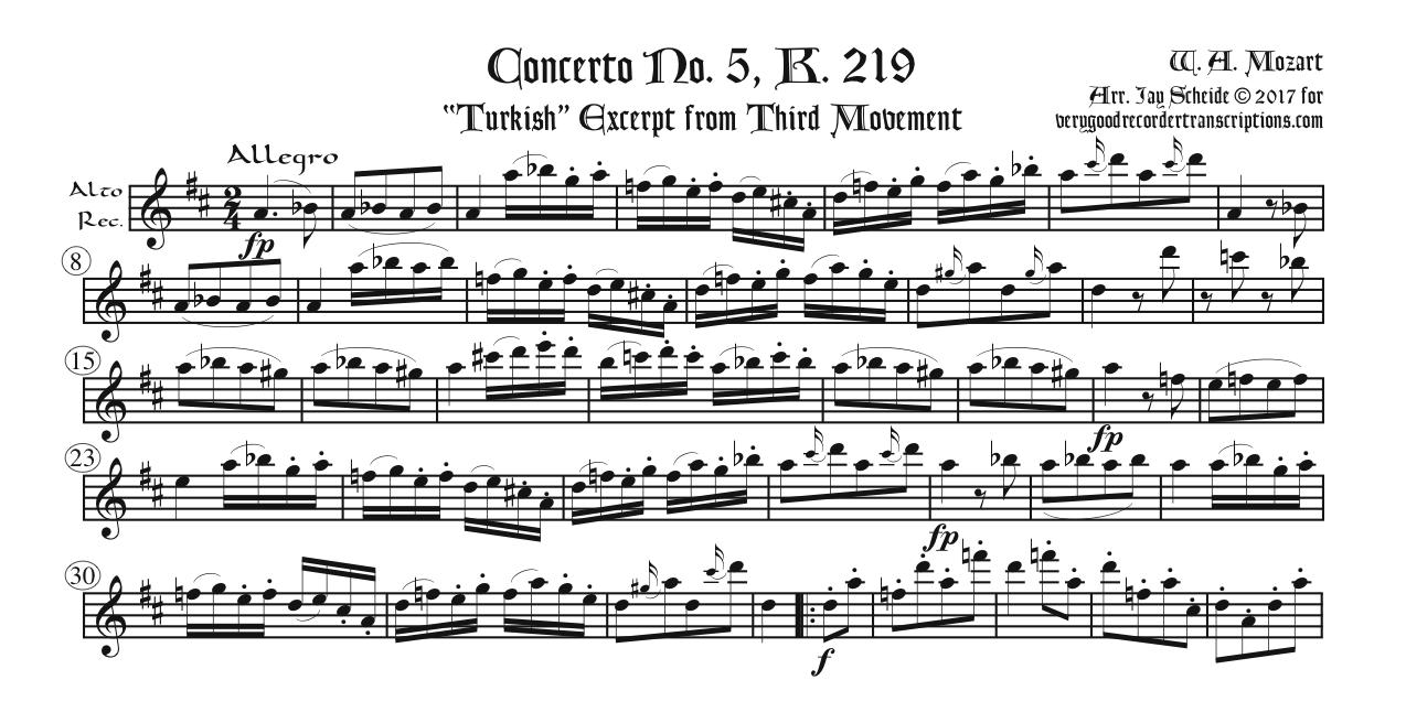 """""""*Alla Turca*"""" episode from Violin Concerto K. 219, 3rd Mvt., two versions, one for tenor or soprano and one for alto"""