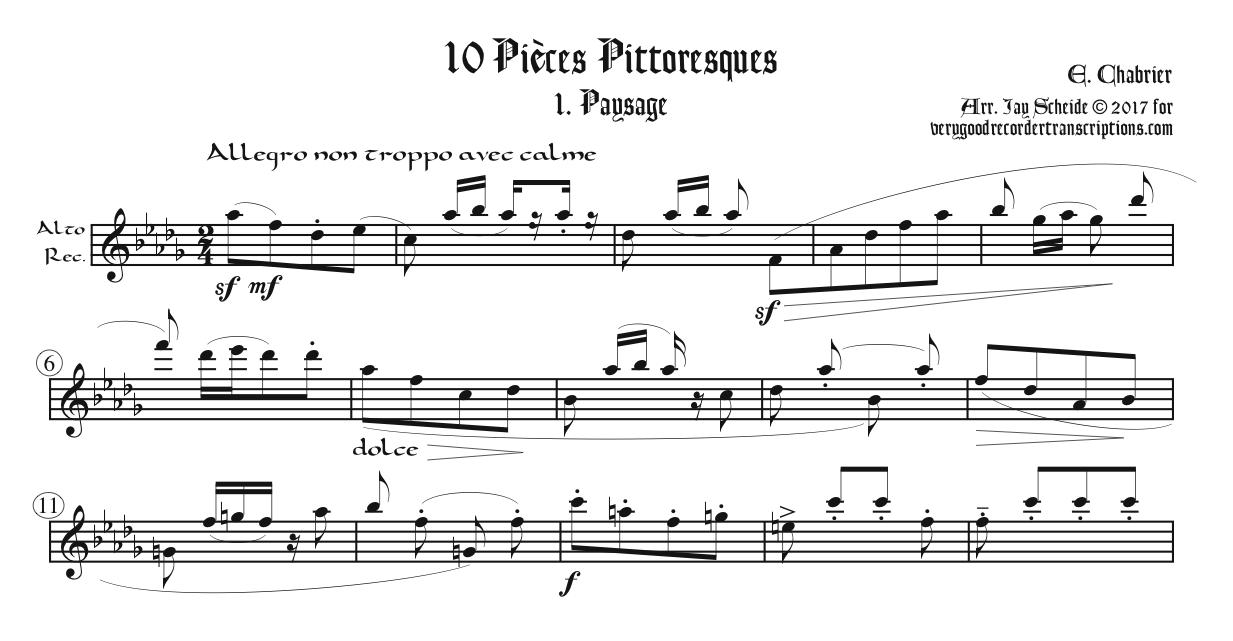 """""""Paysage,"""" No. 1 from *10 Pièces Pittoresques*, first section only, two different versions"""