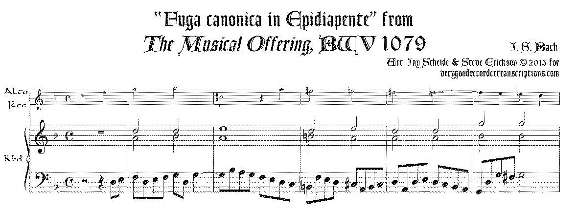 """""""Fuga canonica in Epidiapente"""", from *Musical Offering*, BWV 1079"""