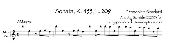 Sonata K. 455, L. 209, P. 354 with alternative version for alto switching to either tenor or soprano