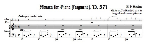 Piano Sonata, D. 571, fragment, with a new completion