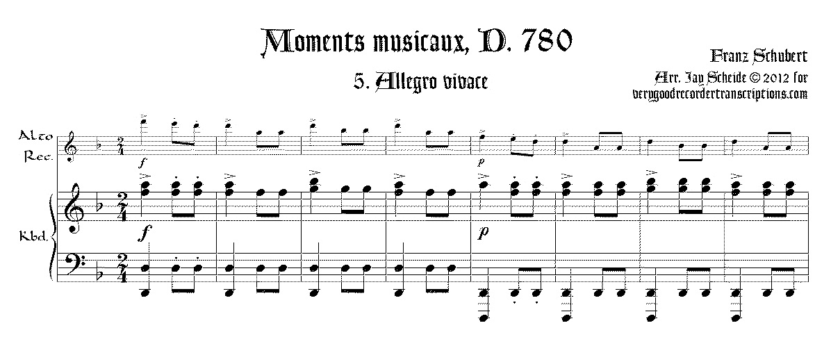 No. 5 from *Moments musicaux*, D. 780