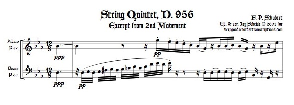 Excerpt from String Quintet, D. 956, 2nd mvmt., arr. for alto & bass recorders