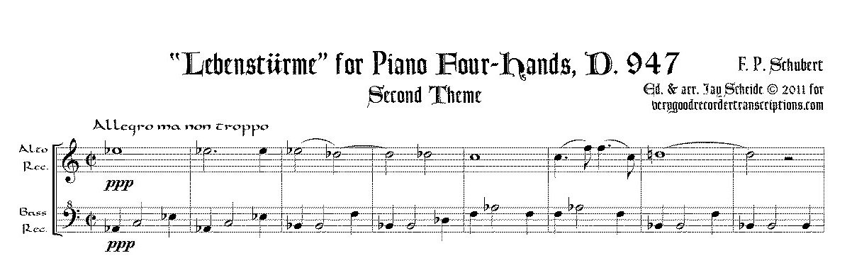 """Excerpt from """"Lebenstürme"""", D. 947 for pf. 4-hands, arr. for alto and bass recorders, two versions, one with switch to alto @415"""